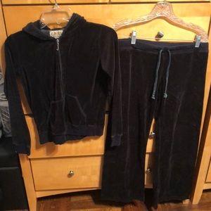 Juicy couture black velour sweat suit size M